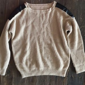 Sweaters - Tan sweater with leather shoulder accents